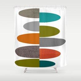 Mid-Century Modern Abstract Ovals Shower Curtain