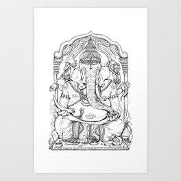 Ganesha Lineart Art Print