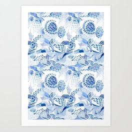 Blue on white birds over paisley Art Print