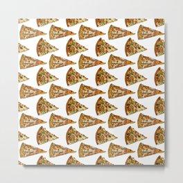 Spicy Meat Pizza Slice Polka Dot Pattern Metal Print