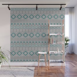 Mudcloth Style 2 in Gray and Teal Wall Mural