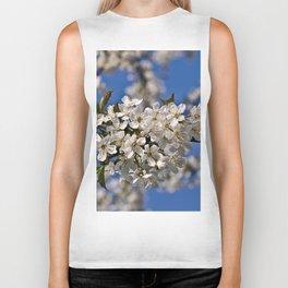 White Cherry Blossoms Biker Tank