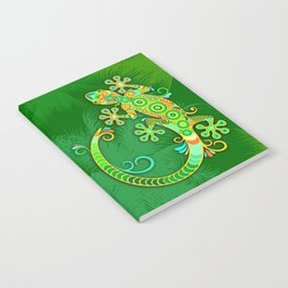 Gecko Lizard Colorful Tattoo Style Notebook
