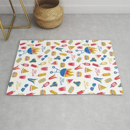 Summer BBQ Pattern - Blue Red Yellow Rug