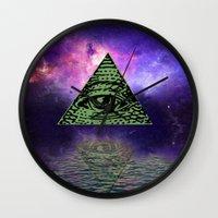 illuminati Wall Clocks featuring Illuminati by gypsykissphotography