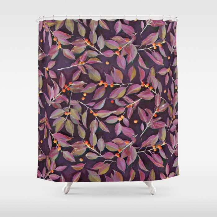 Leaves + Berries in Olive, Plum & Burnt Orange Shower Curtain by ...