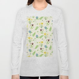 Spring Flowers and Ferns Illustrated Pattern Print Long Sleeve T-shirt