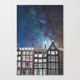 Amsterdam Nertherlands At Night-Canal Houses Canvas Print