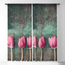 Three Red Tulips Blackout Curtain