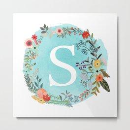 Personalized Monogram Initial Letter S Blue Watercolor Flower Wreath Artwork Metal Print