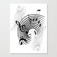 music notes Canvas Prints featuring Music Notes by Svetlana Sewell