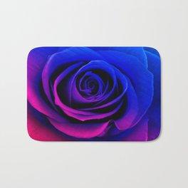 Blue and pink rose Bath Mat