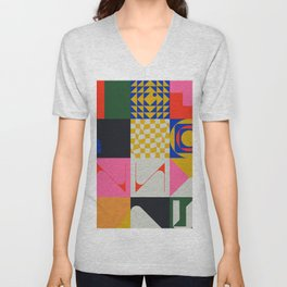 Abstract Geometric Composition 071 Unisex V-Neck