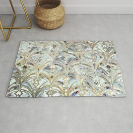 Pale Bright Mint and Sage Art Deco Marbling Rug