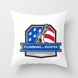 Plumber Hand Pipe Wrench USA Flag Crest Retro Throw Pillow