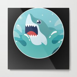 Shark Funny Sharks Sea Ozean Cool Shark Fish Gift Metal Print