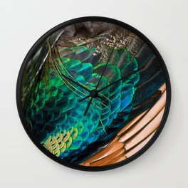 Green Peafowl Feathers Wall Clock