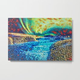 A Polar Experience | Northern Lights and River - Abstract Oil Painting Metal Print