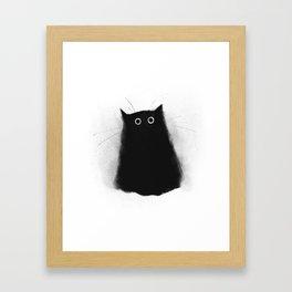 Fuzzy Black Cat Framed Art Print