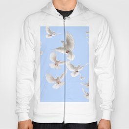 WHITE PEACE DOVES IN SKY BLUE COLOR Hoody