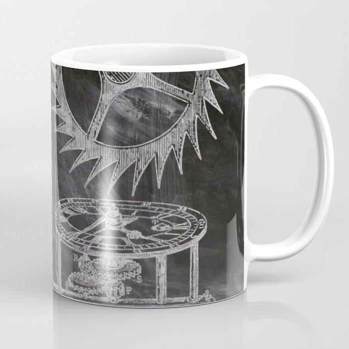 black and white vintage patent print chalkboard steampunk clock gear Coffee Mug