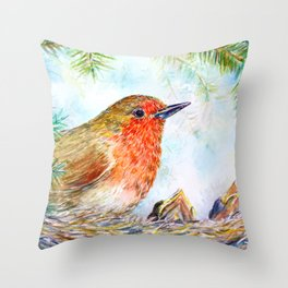 Watercolor Robin and Chicks Throw Pillow