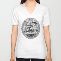 lotr V-neck T-shirts featuring Lord of the Rings Mordor Tower Vintage Geek Art by Barrett Biggers