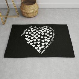 Hearts Heart Teacher White on Black Rug