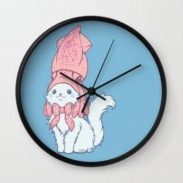 White Cat Wears Squid Hat Wall Clock
