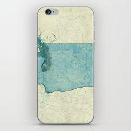 Washington State Map Blue Vintage iPhone Skin
