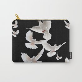 WHITE PEACE DOVES ON BLACK COLOR DESIGN ART Carry-All Pouch