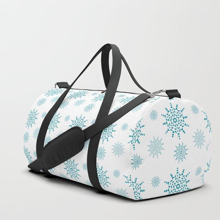 Soft Aqua Blue Snowflake Pattern Duffle Bag
