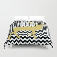 decal Duvet Covers featuring Golden Deer in black and white chevron by haroulita