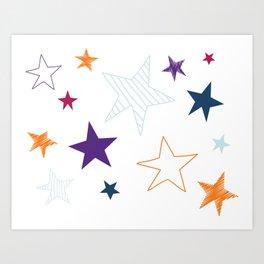 Fun Galaxy Stars Art Print