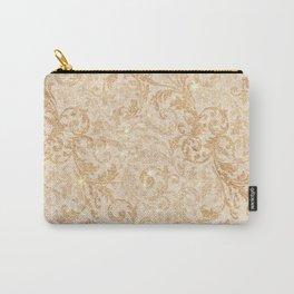 Elegant vintage faux gold glitter antique floral damask Carry-All Pouch