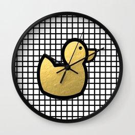 Anka - grid rubber duck duck minimal gold foil black line modern art rubber ducky bath kids hipster  Wall Clock