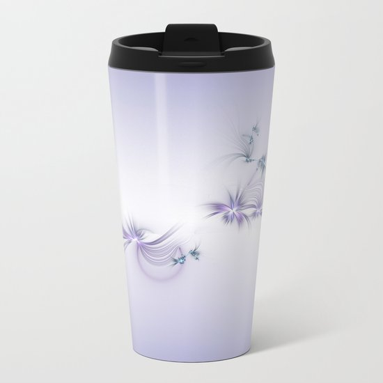Fey Lights Fractal in Violet Metal Travel Mug