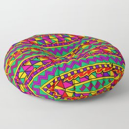 Latin American Pattern. Zigzag Squares Triangle Patterns. Colourful Pattern. Latin America. Funky Floor Pillow