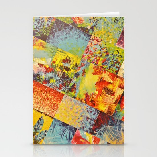 COLORFUL INDECISION 3 - Wild Vivid Rainbow Abstract Acrylic Painting Mixed Pattern Pretty Art Gift  Stationery Cards