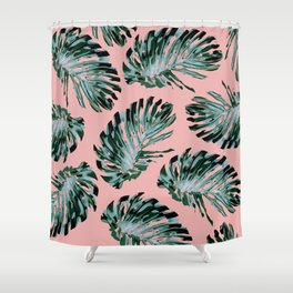Pink and Green Tropical Leaf Print Shower Curtain