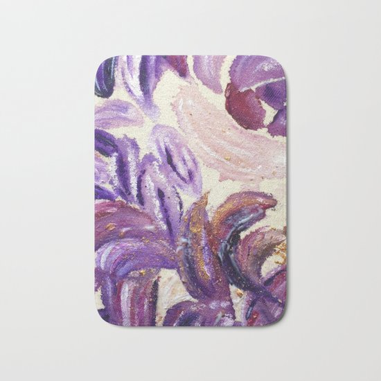 Purple Leaves with Gold Flakes Bath Mat
