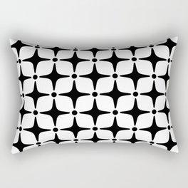 Mid Century Modern Star Pattern Black and White Rectangular Pillow
