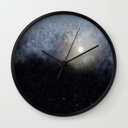Glowing Moon in the night sky Wall Clock