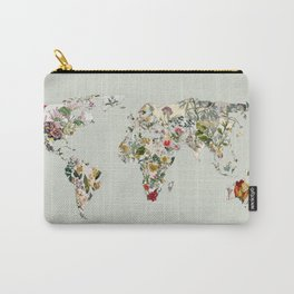 Vintage Botanical World Green Carry-All Pouch