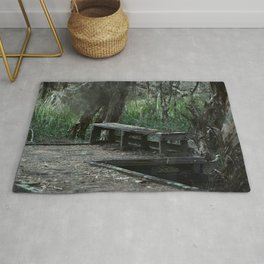 A Run Down Walkway In A Shadowed Forest Rug
