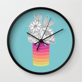 Flower Vase on Aqua Wall Clock