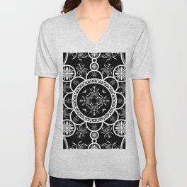 Scarab tile line pattern with black Background Unisex V-Neck