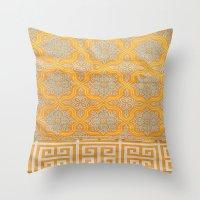 orange pattern Throw Pillows featuring OrangE paTTern by ''CVogiatzi.
