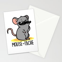 Mouse-tache Cute Mouse Moustache Pun Stationery Cards