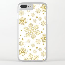Golden snowflakes Clear iPhone Case